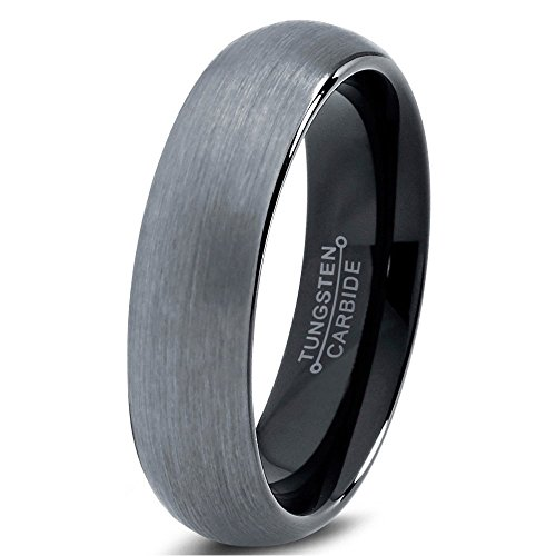 Tungsten Wedding Band Ring 6mm for Men Women Comfort Fit Black Enamel Domed Brushed FREE Custom Laser Engraving Lifetime Guarantee