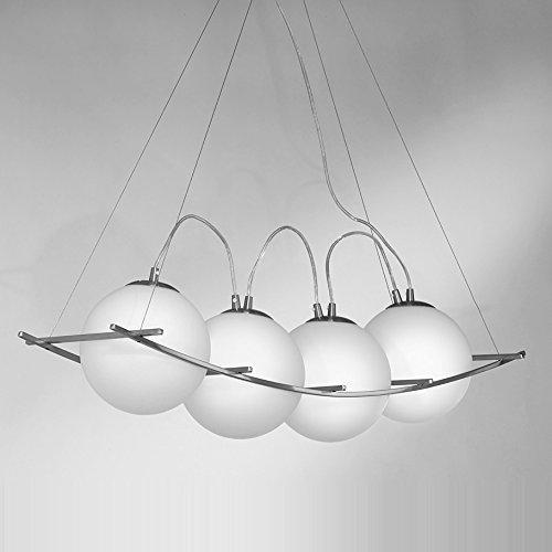 NEG Hängeleuchte QuattroPalloni (18,0cm Kugel-Durchmesser) Deckenlampe aus Opalglas und Edelstahl