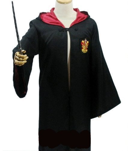 Gryffindor Robes (Harry Potter Cosplay Costume [robe + glasses + tie + magic wand] full set L size 4 points Gryffindor Harry Potter Lsize)
