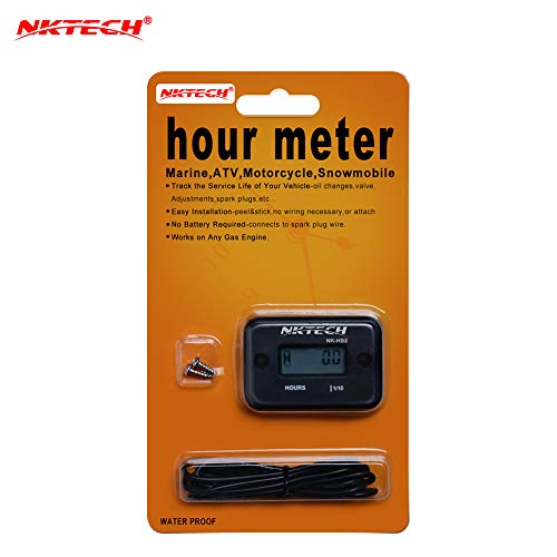 NKTECH NK-HS2 Inductive Hour Meter for Gas Engine Lawn Mover Marine ATV Motorcycle Boat Snowmobile Dirt Bike Generator Outboard Motor Waterproof Stroke Tachometer (Black) ()