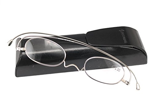 SOOLALA Unique Designer Elegant Stylish Lightweight Oval Titanium Thin Reading Glasses Silver 1.75x