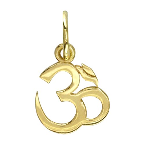 Mini Classic Yoga Ohm, Om, Aum Charm, 8mm x 8mm in 18K yellow gold
