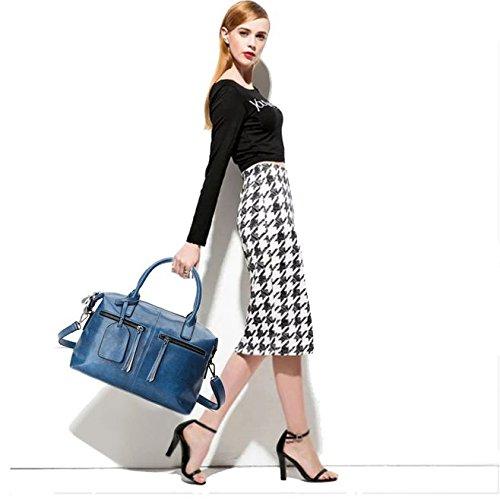 de del Azul Bolsos de Boston hombro cuero bolso cuero SANSJI manera paquete de del diagonal la qtwZfqPx