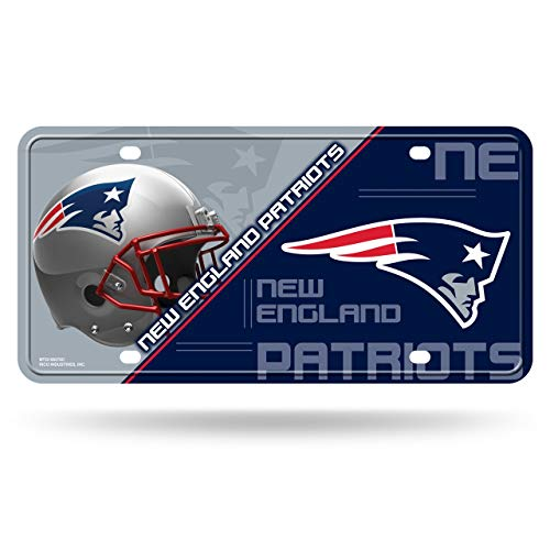 RICO INDUSTRIES NFL New England Patriots Unisex New England Patriots License Plate Metalnew England Patriots License Plate Metal, Team Color, One Size
