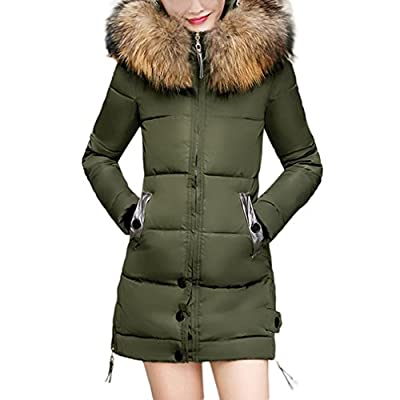 Paymenow Clearance Womens Parka Jacket Hooded Long Thickened Winter Down Coats Outdoor