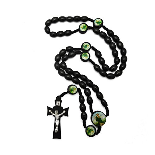 JewelryVolt Rosary Necklace Wooden Oval Beads Braided Medal Shepard Jesus (Black)