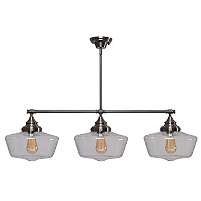 Design Craft Hallow 3 Light Island Ceiling Light Clear Glass