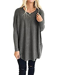 Women's Casual Loose Long Sleeves Pockets Pullover Knit Sweater Tops