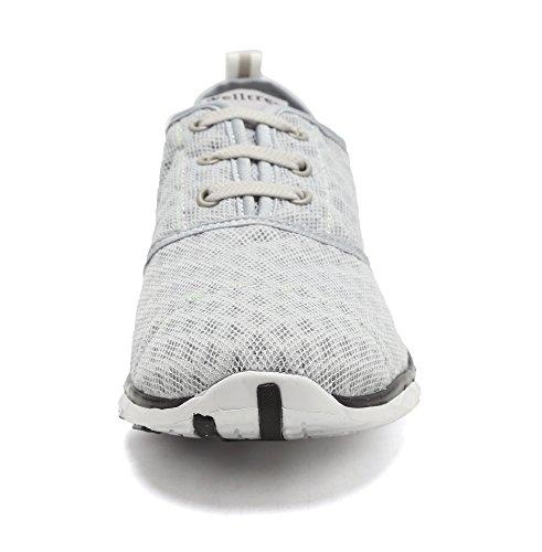 welltree Damen und Herren schnell trocknend atmungsaktiv Mesh leichte Slip auf Aqua Wasser Schuhe 3-grau
