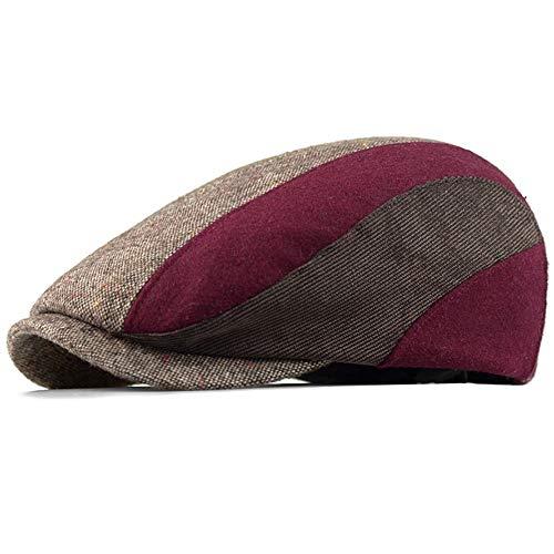 (Clape Golf Hunting Hat Tweed Patchwork Style Irish Flat Cap Ivy Cabbie Hat Wool Blend Newsboy Driving Cap,Wine Red)