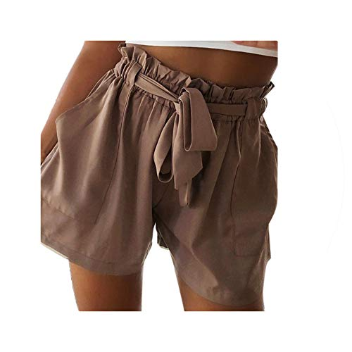 - Fashion Womens Shorts High Waist Tie Belt Paper Bag Shorts Ladies Casual Work Drawstring Sashes Home Shorts Khaki