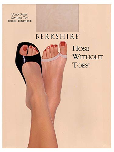 Berkshire Women's Hose Without Toes Ultra Sheer Control Top Pantyhose, Nude, 3X-4X