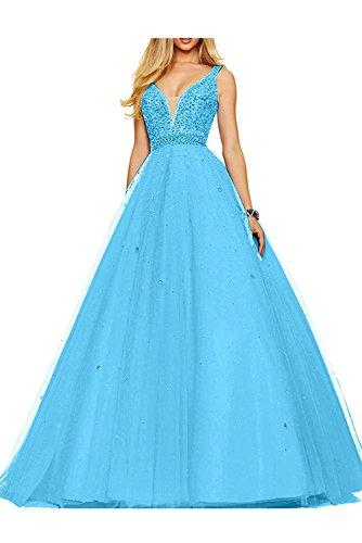 V Lang Traeger La Abschlussballkleider Pfirsisch Partykleider Braut mia Zwei Abendkleider Ausschnitt Abiballkleider Blau 4x4Xqg1w