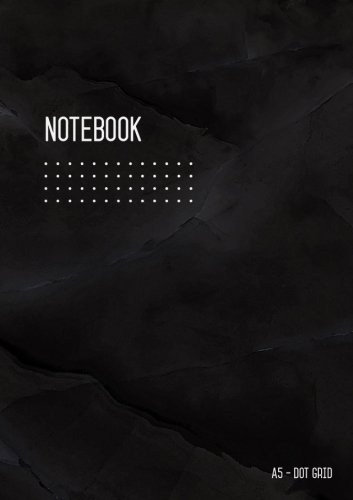Dot Grid Notebook A5: Bullet Journal Notebook Marble Black for Writing and Drawing, Blank, Small, Softcover, Dotted Matrix, Numbered Pages, No Bleed (A5 Calligraphy Dot Grid Journals)