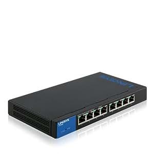 Linksys LGS308-EU - Switch de red para empresas de 8 puertos (seguridad avanzada, QoS, instalación y gestión sencillas, IPv6), negro y azul