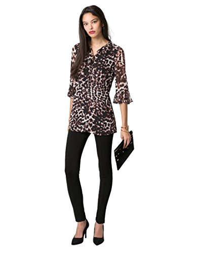 (LE CHÂTEAU Animal Print Bell Sleeve Tunic,XS,Taupe/Black)