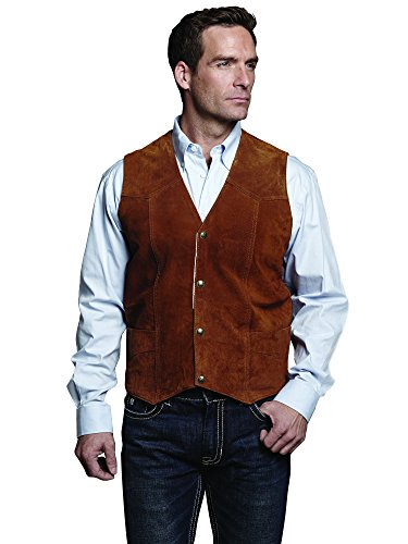 Cripple Creek Mens Cognac Boar Suede Leather Western Snap Front Vest XL
