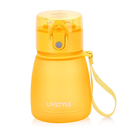 UPSTYLE 0.3L Children Sippy Cup,Portable Leak Proof Mini Water Botter with Straw,Kids Sports Travel Food-Grade PC Trainer Cup Toddler Learner Mug for Milk Juice 10.2oz (300ml Yellow)