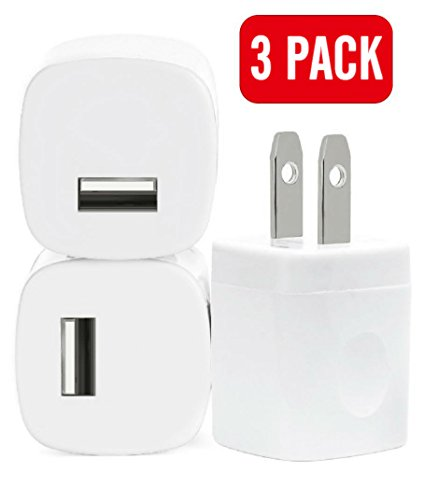 Wall Charger, 3 Pack Universal Charger Home Travel Fast Charger Power Adapter for iPhone 7 7s 6s Plus, iPad, Samsung Galaxy S7 S6, Motorola, LG G4 G3 and More Devices