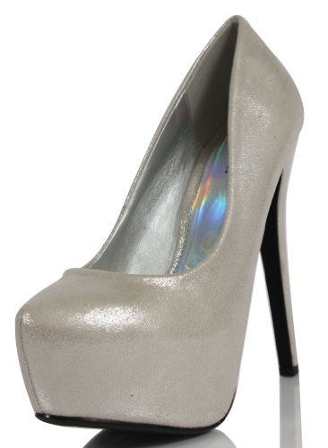 PAPRIKA Silver Shimmer Faux Leather Almond Platform High Heel Pumps Aigan (7.5 M US Women, Silver Shimmer) from PAPRIKA