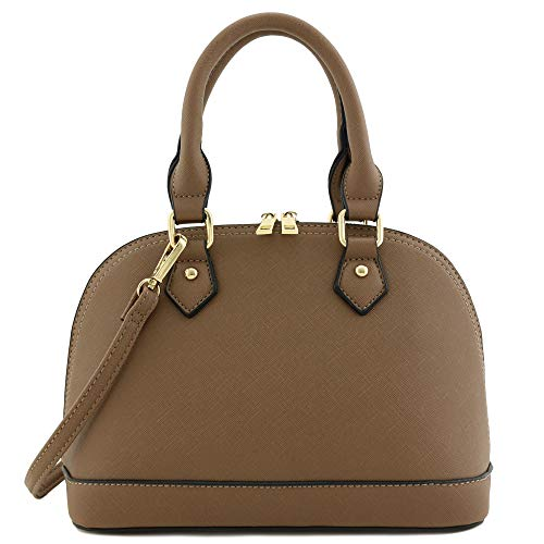 Zip-Around Saffiano Classic Dome Satchel - Small With Strap Satchel