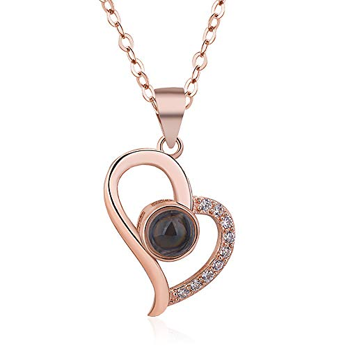Cocobanana Women's Necklace Cubic Zirconia Station Heart Shaped Necklaces for Ladies (Rose Gold) -