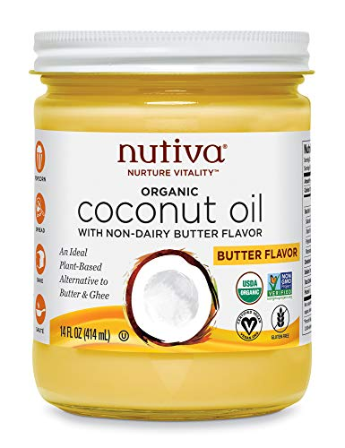 Nutiva Organic Coconut Oil with Butter Flavor from non-GMO, Steam Refined, Sustainably Farmed Coconuts, 14-ounce (Nutiva Organic Unrefined Extra Virgin Coconut Oil)