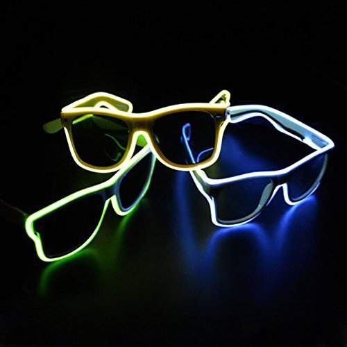 TGETH Smart Remote Control Glasses El Wire Fashion Neon LED Light Up Shutter Shaped Glow Rave Costume Party DJ Bright Glasses For Halloween,Party Favor