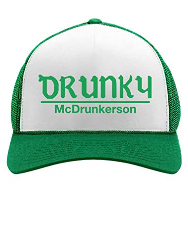 Tstars - Drunky McDrunkerson Funny St. Patrick's Day Party Trucker Hat Mesh Cap One Size Green/White ()