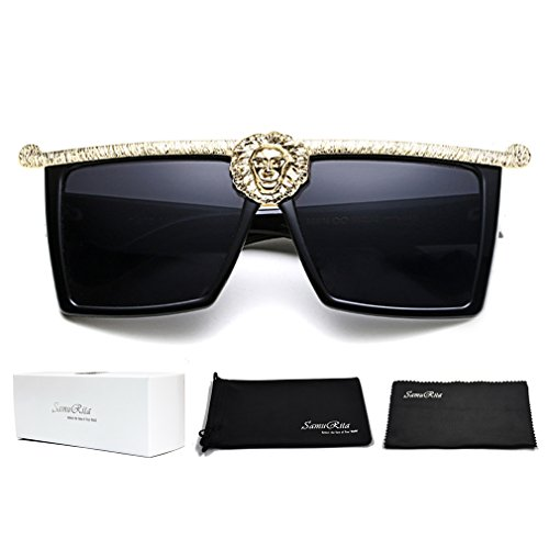 SamuRita Novelty Luxury Square Flat Top Super Dark Lenses Gangster Sunglasses, Gold Decor/Black ()