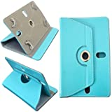 ECellStreet Tablet Flip Cover Universal Diary Folio Case With Stand And 360 Degree Rotation For HCL Me Sync 1.0 (U3) - Aqua Blue