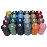 SEWING AID All Purpose Polyester Sewing Threads in 24 Assorted Colors, 1000 yds Each Spool, Hand and Sewing Machine