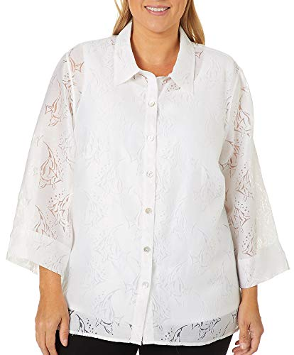 Alfred Dunner Plus Catalina Island Angel Fish Duet Top 3X ()