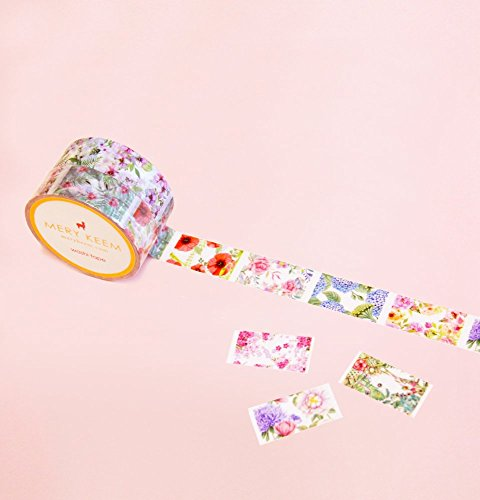 Vintage Flowers Perforated Washi Tape for Planning • Scrapbooking • Arts Crafts • Office • Party Supplies • Gift Wrapping • Colorful Decorative • Masking Tapes • DIY from MERYKEEM