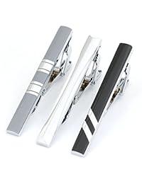 f8137ac13569 3pc Mens Tie Bar Clip 2.1 Inch, Silver-tone, Black, Gray