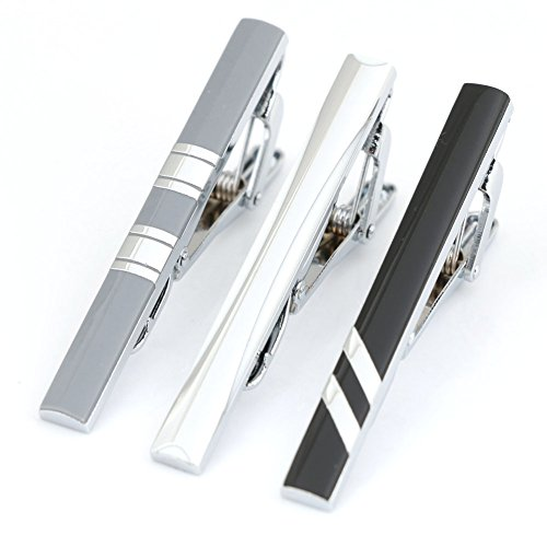3pc Mens Tie Bar Clip 2.1 Inch, Silver-tone, Black, Gray