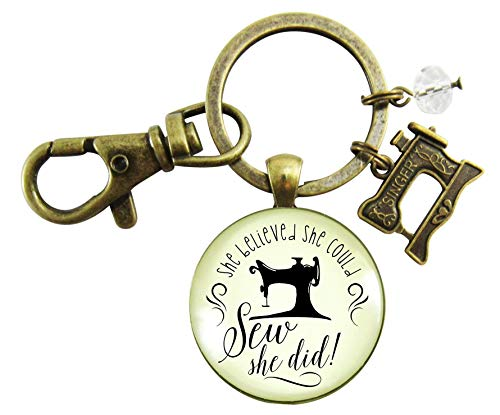 Sewing Keychain She Believed She Could SEW She Did Seamstress Vintage Inspired Women's Jewelry Gift Sewing Machine Charm from Gutsy Goodness
