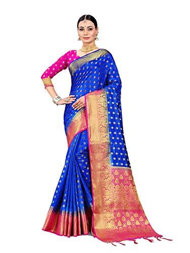 i Art Silk Woven Saree l Indian Wedding Gift Sari Unstitched Blouse ()