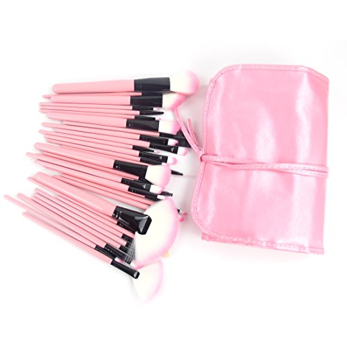 Echo Beauty Gift for Valentine's Day 32 Pcs Pink Rod Makeup Brush Cosmetic Set Kit with Case Professional Makeup Brushes & (Elf Makeup Tutorial)