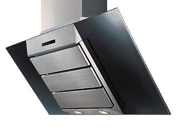 Wandhaube 60 cm mit schacht abluftbetrieb in edelstahl schwarzglas