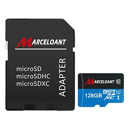 TF Card 128GB, Marceloant Micro SD Memory Cards Class 10 microSDXC UHS-I Card with Adapter, Black/Blue, Standard Packaging
