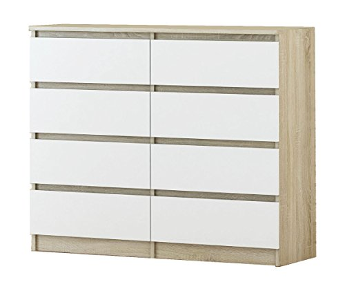 ​ Dresser with 8 Drawers - in different color combinations - modern design Chest of drawers (Sonoma Oak and White)