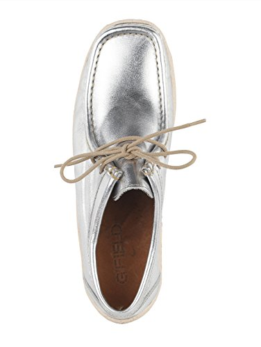 Stil Schnürschuh KLiNGEL Silberfarben Mokassin im qRnZPX