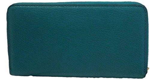 Michael Kors McGraw Aqua Leather Continental Zip Around Wallet