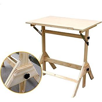 Crazyworld Adjustable Drawing Table,Wood Tabletop Easel Sketch Board  Portable Hobby Drafting Desk Art Supply