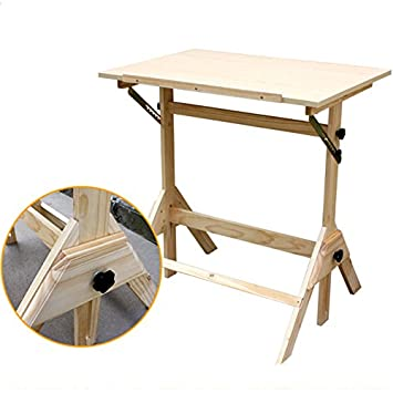 Crazyworld Adjustable Drawing Table,Wood Tabletop Easel Sketch Board  Portable Hobby Drafting Desk Art Supply