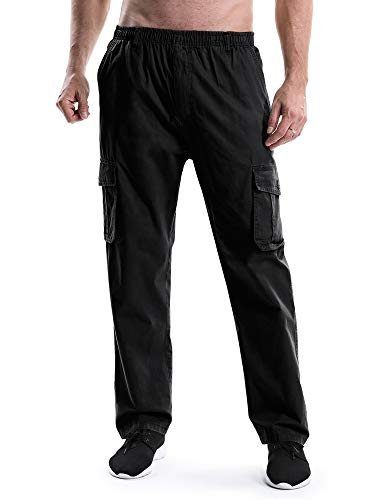 Mesinsefra Men's Elastic Waist Lightweight Workwear Pull On Casual Cargo Pants Black Lable 3XL-US 38