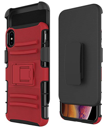lster and Clear Case [2-Pack], Celkuser Hard PC Soft TPU Combo Swivel Belt Clip Kickstand Fullbody Shockproof Armor Protective Cover for Apple iPhone XsMax 2018 6.5in - Red Black ()