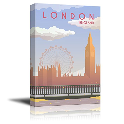 wall26 - Canvas Wall Art - London England Travel Illustration Canvas Art - Giclee Print Gallery Wrap Modern Home Decor Ready to Hang - 24x36 inches]()