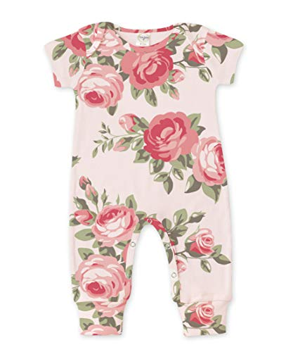 Tesa Babe Spring Floral Romper for Newborns, Baby Girls & Toddlers, Multi (SS Pink Cabbage Rose, Newborn)